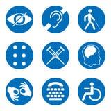 Διανυσματικά εκτός λειτουργίας σημάδια με κωφό, άλαλος, βουβός, τυφλός, πηγή μπράιγ, διανοητική ασθένεια, χαμηλό όραμα, εικονίδια απεικόνιση αποθεμάτων
