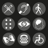 Διανυσματικά εκτός λειτουργίας σημάδια με κωφό, άλαλος, βουβός, τυφλός, πηγή μπράιγ, διανοητική ασθένεια απεικόνιση αποθεμάτων