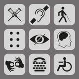 Διανυσματικά εκτός λειτουργίας σημάδια με κωφό, άλαλος, βουβός, τυφλός, πηγή μπράιγ, διανοητική ασθένεια διανυσματική απεικόνιση