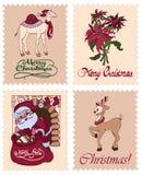 Διανυσματικά εκλεκτής ποιότητας γραμματόσημα Raindeer Santa Χριστουγέννων Στοκ Φωτογραφίες