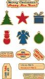 Διανυσματικά εκλεκτής ποιότητας Χριστούγεννα και νέες ετικέτες πώλησης έτους Στοκ φωτογραφία με δικαίωμα ελεύθερης χρήσης
