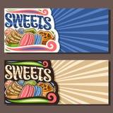 Διανυσματικά εμβλήματα για τα γλυκά διανυσματική απεικόνιση