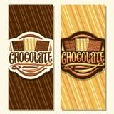 Διανυσματικά εμβλήματα για τη σοκολάτα διανυσματική απεικόνιση
