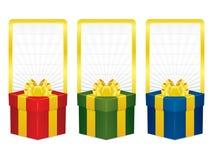 Διανυσματικά εμβλήματα κιβωτίων δώρων απεικόνιση αποθεμάτων