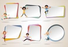Διανυσματικά εμβλήματα/υπόβαθρα με το άλμα παιδιών κινούμενων σχεδίων απεικόνιση αποθεμάτων