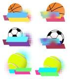 Διανυσματικά εμβλήματα αθλητικών σφαιρών καθορισμένα Στοκ φωτογραφίες με δικαίωμα ελεύθερης χρήσης