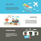 Διανυσματικά εμβλήματα διαφήμισης υπηρεσιών μεταφορών και διοικητικών μεριμνών φορτίου παράδοσης Στοκ Φωτογραφίες