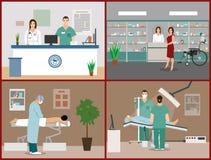 Διανυσματικά εμβλήματα που τίθενται με τους ασθενείς, τους γιατρούς και το εσωτερικό νοσοκομείων Έννοια ιατρικής υγειονομικής περ διανυσματική απεικόνιση