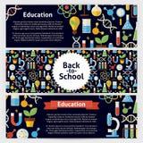 Διανυσματικά εμβλήματα προτύπων σχολικών επιστήμης και εκπαίδευσης που τίθενται στον τρόπο στοκ φωτογραφία