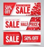 Διανυσματικά εμβλήματα πώλησης ημέρας βαλεντίνων με τα διαφορετικά σχέδια Στοκ Εικόνα