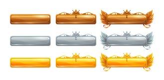 Διανυσματικά εμβλήματα τίτλου κινούμενων σχεδίων που τίθενται για το επικό παιχνίδι απεικόνιση αποθεμάτων
