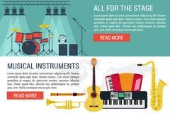 Διανυσματικά εμβλήματα των μουσικών οργάνων διανυσματική απεικόνιση