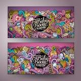 Διανυσματικά εμβλήματα baby boom doodles κινούμενων σχεδίων Στοκ φωτογραφία με δικαίωμα ελεύθερης χρήσης