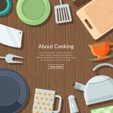 Διανυσματικά επίπεδα εικονίδια εργαλείων κουζινών στο ξύλινο υπόβαθρο σύστασης με τη θέση για την απεικόνιση κειμένων απεικόνιση αποθεμάτων