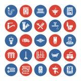 Διανυσματικά επίπεδα εικονίδια glyph υπηρεσιών υδραυλικών Εξοπλισμός λουτρών σπιτιών, στρόφιγγα, τουαλέτα, σωλήνωση, πλυντήριο απεικόνιση αποθεμάτων