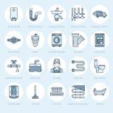 Διανυσματικά επίπεδα εικονίδια γραμμών υπηρεσιών υδραυλικών Εξοπλισμός λουτρών σπιτιών, στρόφιγγα, τουαλέτα, σωλήνωση, πλυντήριο, απεικόνιση αποθεμάτων