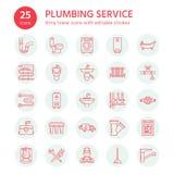 Διανυσματικά επίπεδα εικονίδια γραμμών υπηρεσιών υδραυλικών Εξοπλισμός λουτρών σπιτιών, στρόφιγγα, τουαλέτα, σωλήνωση, πλυντήριο, διανυσματική απεικόνιση