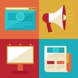 Διανυσματικά επίπεδα εικονίδια διαφήμισης και προώθησης απεικόνιση αποθεμάτων