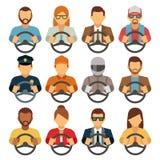 Διανυσματικά επίπεδα εικονίδια οδηγών ανδρών και γυναικών ελεύθερη απεικόνιση δικαιώματος