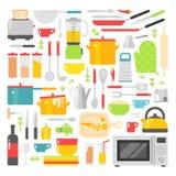 Διανυσματικά επίπεδα εικονίδια πιάτων κουζινών που απομονώνονται στο άσπρο υπόβαθρο Στοκ Εικόνα
