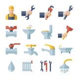 Διανυσματικά επίπεδα εικονίδια υδραυλικών καθορισμένα Στοκ Φωτογραφίες