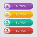 Διανυσματικά επίπεδα κουμπιά με το εικονίδιο Στοκ Φωτογραφία