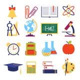 Διανυσματικά επίπεδα σχολικά εικονίδια απεικόνιση αποθεμάτων