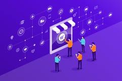Διανυσματικά επιχειρησιακά σε απευθείας σύνδεση αγορές και ηλεκτρονικό εμπόριο με τη σύνδεση δικτύων Ίντερνετ ελεύθερη απεικόνιση δικαιώματος