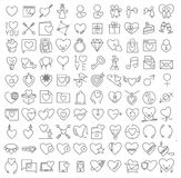Διανυσματικά λεπτά εικονίδια γραμμών βαλεντίνου καθορισμένα Στοκ Εικόνα