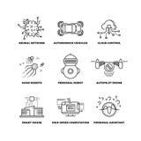 Διανυσματικά λεπτά εικονίδια γραμμών ρομπότ AI τεχνητής νοημοσύνης Στοκ Εικόνες