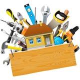Διανυσματικά εργαλεία κατασκευής με το σπίτι απεικόνιση αποθεμάτων