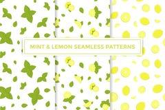 Διανυσματικά ζωηρόχρωμα άνευ ραφής σχέδια λεμονιών και μεντών καθορισμένα Στοκ εικόνα με δικαίωμα ελεύθερης χρήσης