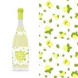 Διανυσματικά ζωηρόχρωμα άνευ ραφής σχέδιο λεμονιών και μεντών και μπουκάλι του limonade Στοκ εικόνες με δικαίωμα ελεύθερης χρήσης