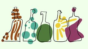 Διανυσματικά ζωηρόχρωμα μπουκάλια στο αφηρημένο ύφος τέχνης Στοκ Εικόνες