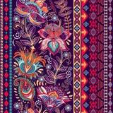 Διανυσματικά ζωηρόχρωμα σύνορα Floral διακοσμητικό πρότυπο Στοκ Φωτογραφίες