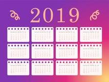 Διανυσματικά ημερολογιακά 2019, φωτεινός και χαριτωμένος χρώματα διανυσματική απεικόνιση