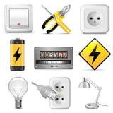 Διανυσματικά ηλεκτρικά εικονίδια Στοκ φωτογραφία με δικαίωμα ελεύθερης χρήσης