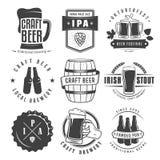 Διανυσματικά διακριτικά και λογότυπα μπύρας τεχνών διανυσματική απεικόνιση