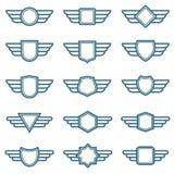 Διανυσματικά διακριτικά στρατού φτερών αετών Ετικέτες φτερών αεροπορίας Φτερωτά πειραματικά εμβλήματα διανυσματική απεικόνιση