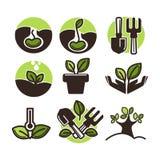 Διανυσματικά διανυσματικά εικονίδια νεαρών βλαστών εγκαταστάσεων και δέντρων που τίθενται για την κηπουρική ή τη φύτευση διανυσματική απεικόνιση