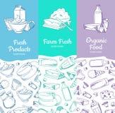Διανυσματικά κάθετα εμβλήματα με τα σκιαγραφημένα γαλακτοκομικά αγαθά ελεύθερη απεικόνιση δικαιώματος