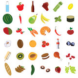 Διανυσματικά καθορισμένα λαχανικά και φρούτα γεύματος επίπεδα Στοκ φωτογραφία με δικαίωμα ελεύθερης χρήσης