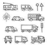 Διανυσματικά καθορισμένα εικονίδια μεταφορών σκίτσων αστικά Στοκ Φωτογραφία