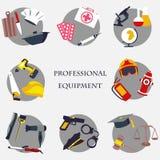 Διανυσματικά καθορισμένα εικονίδια συλλογής της διανυσματικής απεικόνισης εξοπλισμού επαγγελμάτων χρώματος Στοκ Φωτογραφίες