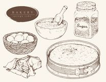 Διανυσματικά καθορισμένα συστατικά για το κέικ σφουγγαριών ελεύθερη απεικόνιση δικαιώματος
