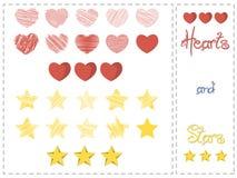 Διανυσματικά καρδιές και αστέρια καθορισμένες Στοκ Φωτογραφία