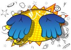 Διανυσματικά κενά χέρια κινούμενων σχεδίων στο υπόβαθρο κόμικς διανυσματική απεικόνιση