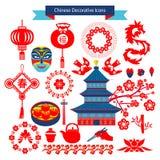 Διανυσματικά κινεζικά διακοσμητικά εικονίδια Στοκ εικόνα με δικαίωμα ελεύθερης χρήσης