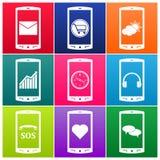 Διανυσματικά κινητά τηλεφωνικά εικονίδια Στοκ Εικόνες