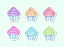 Διανυσματικά κινούμενα σχέδια cupcakes Στοκ φωτογραφία με δικαίωμα ελεύθερης χρήσης